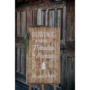 Panneau de bienvenue mariage à la montagne