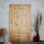 Panneau en bois menu mariage